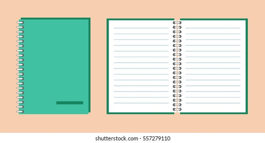Notebook, open notebook isolated objects. Vector