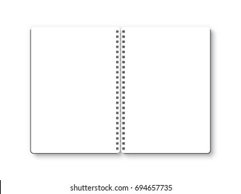 Notebook open vector isolated on white background. Empty white page, top view, from above.