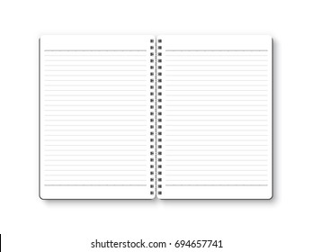 Notebook open vector isolated on white background. White page with ruled paper, top view, from above.