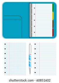 notebook organizer with pen