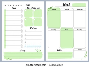 Notebook pages, daily and weekly planner, vector