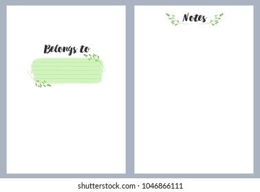 Notebook pages template, belongs to, notes, vector