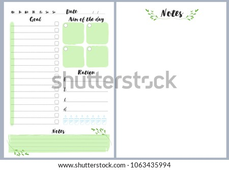 notebook pages template daily notes vector stock vector royalty