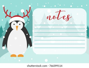 Notebook page.Sticker page.Winter design. Christmas penguin in Christmas hat with horns. Background for notes. Printable page. Penguin vector illustration.