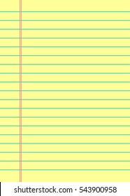 Notebook paper background. Yellow lined paper