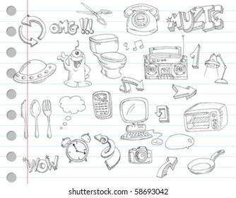 notebook paper doodles set number 2