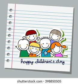 Notebook-Papier glückliche Kinder Tag