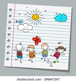 notebook paper happy kids summer day