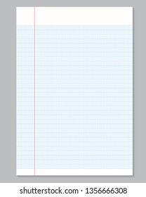 Notebook paper sheet with lines on grey background.