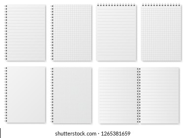 Notebook paper sheets. Sketchbook blank pages with variety of lines and dots. Notepad vector isolated mockup