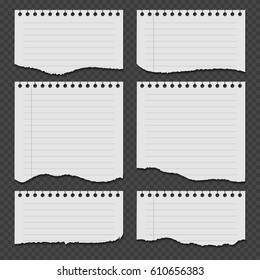 Notebook papers with torn, ripped edge vector set. Ripped paper page, empty damaged rip paper illustration.