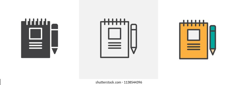 Notebook and pen icon. Line, solid and filled outline colorful version, outline and filled vector sign. Symbol, logo illustration. Different style icons set. Pixel perfect vector graphics