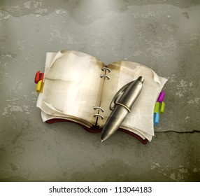Notebook with pen, old-style vector