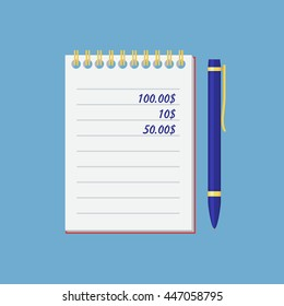 Notebook and pen. Simple, flat style. Graphic vector illustration.