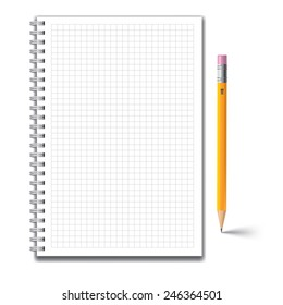 Notebook and pencil isolated on white background. Vector illustration