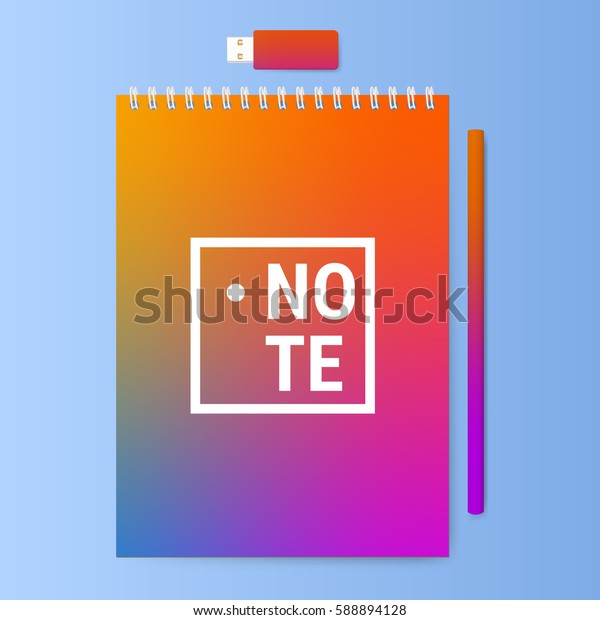 Notebook with a pencil and usb memory stick. Notepad with a bright color cover. Vector illustration.