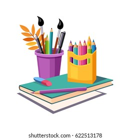 Notebook, Pencils And Eraser, Set Of School And Education Related Objects In Colorful Cartoon Style