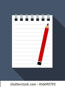 Notebook And Red Pencil. Flat Design Vector Illustration Of A Notebook And A Pencil As Background. Global Colors Used.