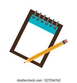 notebook school with pencils isolated icon