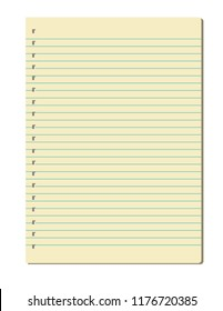 Notebook sheet isolated