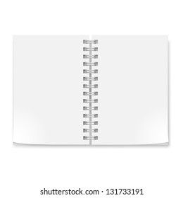 Notebook with sheets . Illustration on white background for creative design.