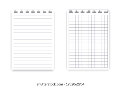 Notebook sheets on white background. Vector illustration template. Notebook paper. Stock image. EPS 10.