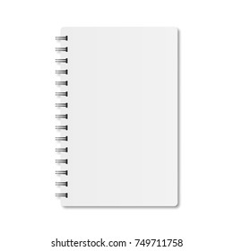 Notebook with spiral and shadow on white background