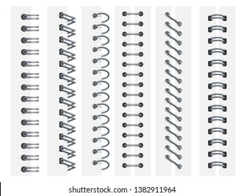 Notebook spirals. Rings binding notebooks pages, spiral fastening sheets and sketchbook bindings ring 3d vector illustration set