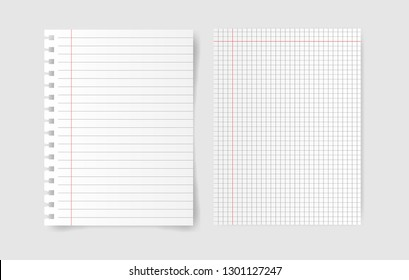 Notebook squared paper with blank note paper on gray background. Vector illustration