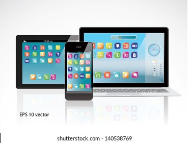 Notebook, tablet PC computer and smartphone with color interface with application icons isolated on white background