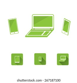 Notebook tablet phone electronics set icon