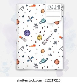 Notebook template with hand drawn astronomy doodles. Vector editable notebook cover.