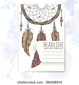 Notebook template with hand drawn dream catcher. Vector editable notebook cover.