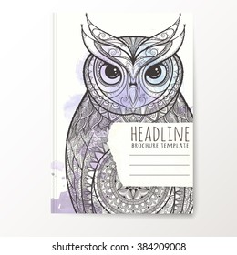 Notebook template with hand drawn owl. Vector editable notebook cover.