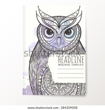 Notebook Template Hand Drawn Owl Vector Stock Vector Royalty Free