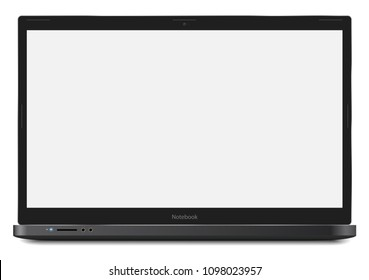 Notebook Vector Realistic Ilustration with real size 17.3 inch 16:9 screen easy pasting your screenshot to computer
