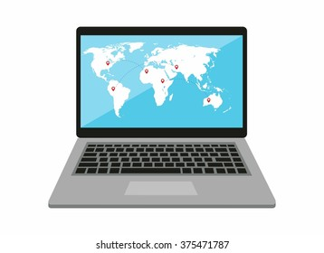 notebook with world map on the screen