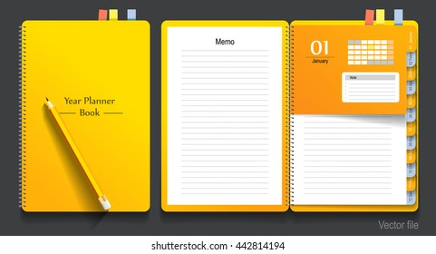 Notebook, year planner and pencil, business working. vector file