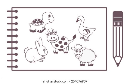 a notepad with animals