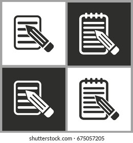 Notepad - black and white vector icons for graphic and web design.