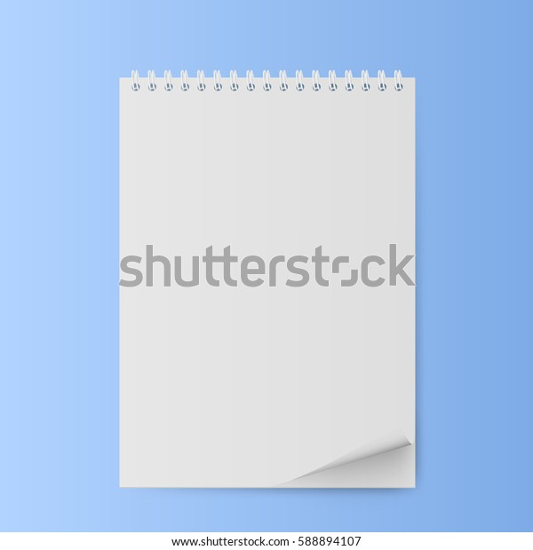 Notepad with a curved sheet. Notepad with blank white sheets. Vector illustration.
