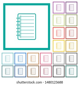 Notepad flat color icons with quadrant frames on white background