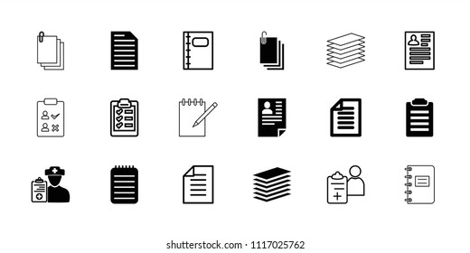 Notepad icon. collection of 18 notepad filled and outline icons such as notebook, doctor prescription, paper, resume, check list. editable notepad icons for web and mobile.