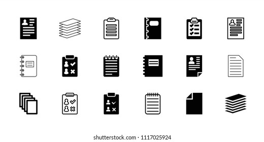 Notepad icon. collection of 18 notepad filled and outline icons such as resume, paper, notebook, clipboard. editable notepad icons for web and mobile.