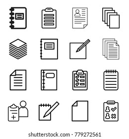 Notepad icons. set of 16 editable outline notepad icons such as paper, notepad, check list, notebook, doctor prescription, paper and pen, clipboard
