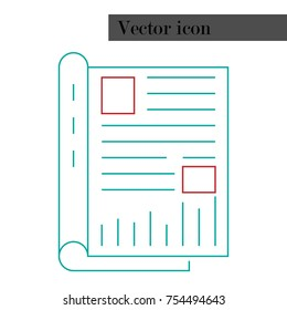 Notepad, journal with entries icon. Vector illustration book, notebook for registration. Logo notepad.