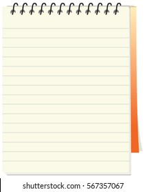 Notepad or note book vector for to do list with orange color cover isolated in white background.