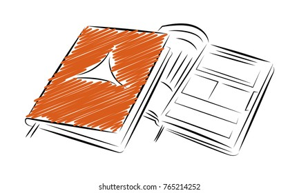 Notepad notebook template. Outline style drawing icon. Isolated vector illustration for web or print design.