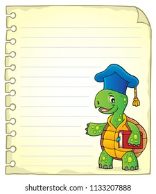 Notepad page with turtle teacher - eps10 vector illustration.