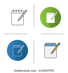 Notepad with pencil icon. Taking notes. Flat design, linear and color styles. Isolated vector illustrations